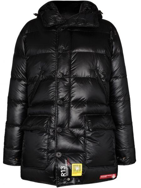 Черное пуховое пальто R13