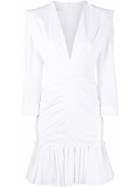 Платье мини с V-образным вырезом - белое Philosophy Di Lorenzo Serafini