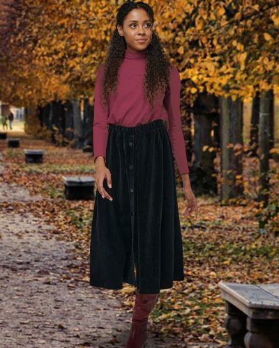 Повседневная юбка миди вельветовая на пуговицах Mix-mode