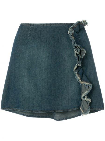 Хлопковая синяя джинсовая юбка с оборками винтажная Moschino Pre-owned
