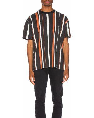 Prążkowany czarny t-shirt bawełniany Zanerobe