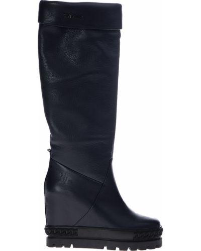 Ботфорты на каблуке кожаные текстильный Genuin Vivier