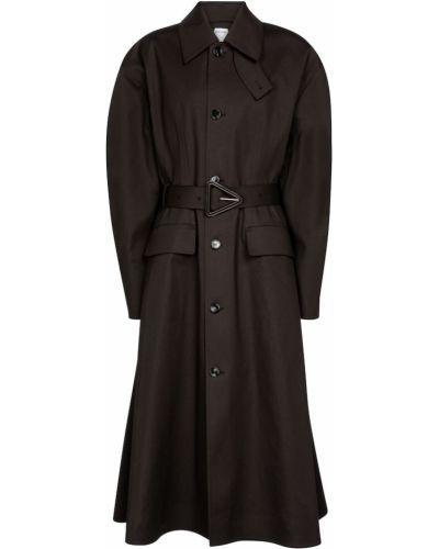 Хлопковое ватное коричневое длинное пальто Bottega Veneta