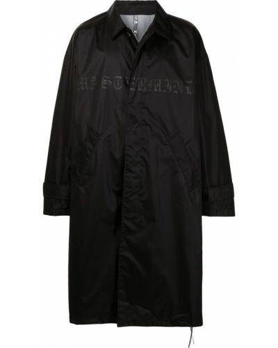 Czarny płaszcz przeciwdeszczowy zapinane na guziki z nylonu Mastermind Japan