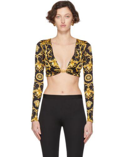 Блузка с длинным рукавом с воротником-стойкой золотой Versace