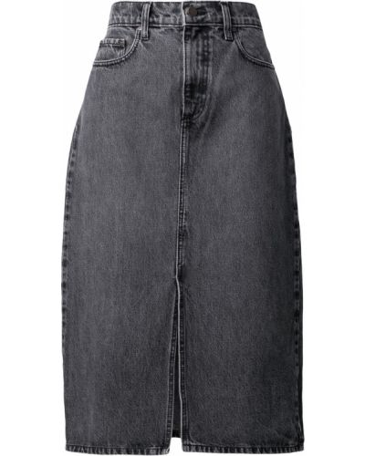 Хлопковая юбка с разрезом классическая на молнии Nobody Denim