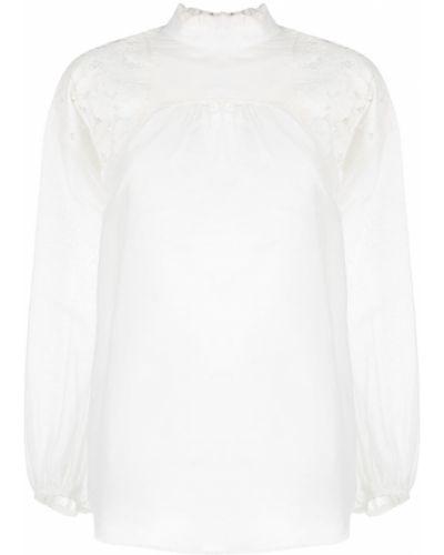 Шелковая кружевная белая блузка N°21