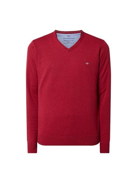 Różowy sweter bawełniany z dekoltem w serek Fynch-hatton