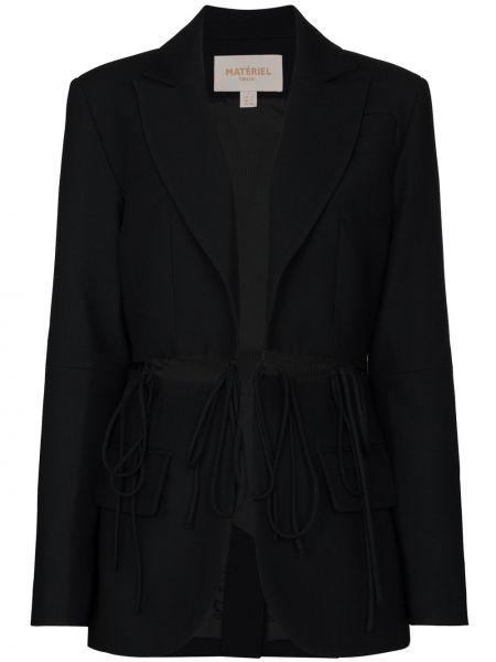 Шерстяной черный пиджак с вырезом Matériel