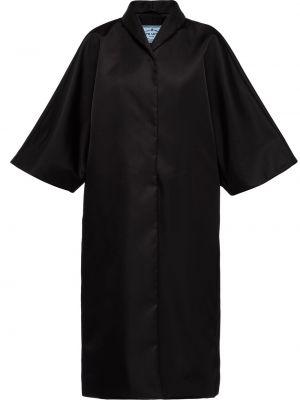 Czarny płaszcz przeciwdeszczowy z nylonu krótki rękaw Prada