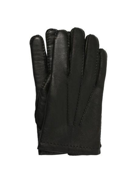 Золотистые кожаные черные кожаные перчатки с подкладкой Tom Ford