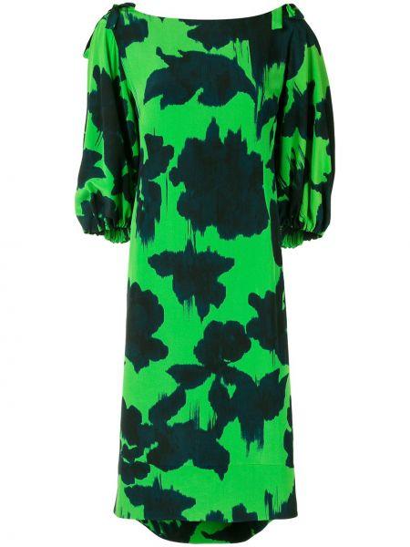 Платье миди с абстрактным принтом с рукавами Delpozo