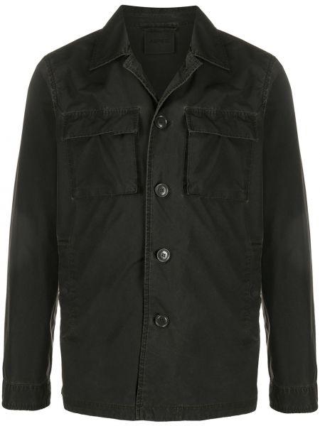 Długa kurtka czarna z guzikami Aspesi