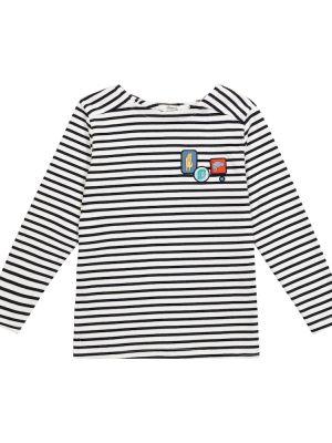 Czarny sweter w paski bawełniany Bonpoint