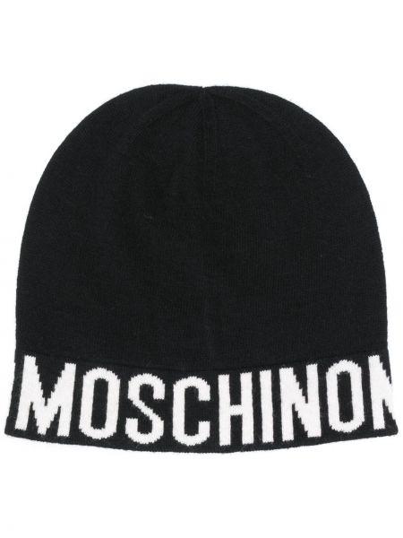 Шерстяная черная шапка бини эластичная Moschino