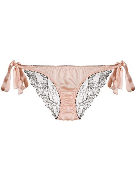 Брендовые шелковые розовые трусы Gilda & Pearl