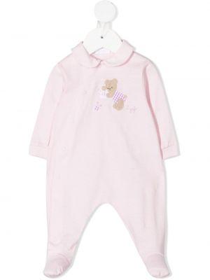 Różowa piżama bawełniana z długimi rękawami Il Gufo