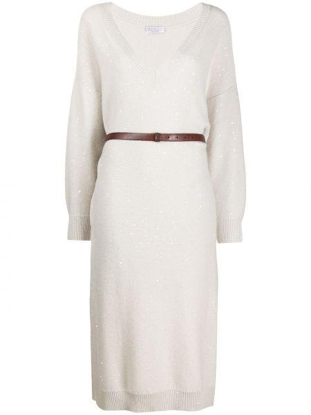 Трикотажное вязаное платье миди с пайетками Brunello Cucinelli