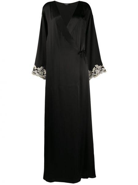 Czarny szlafrok koronkowy z jedwabiu La Perla