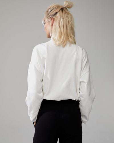 Белый свитер на молнии с воротником Defacto