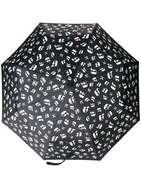 Parasol z nadrukiem czarny Karl Lagerfeld