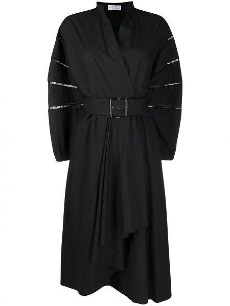 Хлопковое черное платье макси с V-образным вырезом Brunello Cucinelli