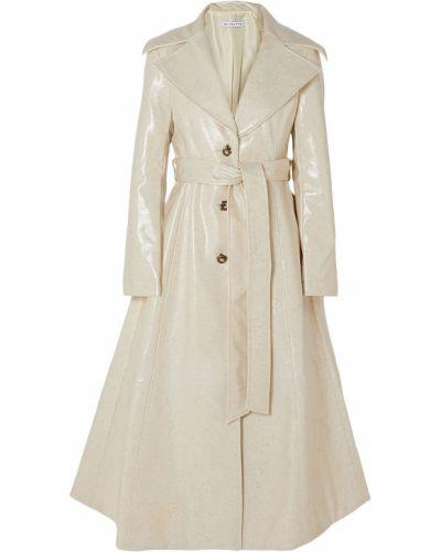 Шерстяное бежевое пальто с карманами Rejina Pyo