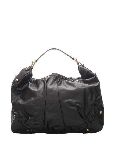 Кожаная черная сумка с заклепками с карманами Gucci Pre-owned