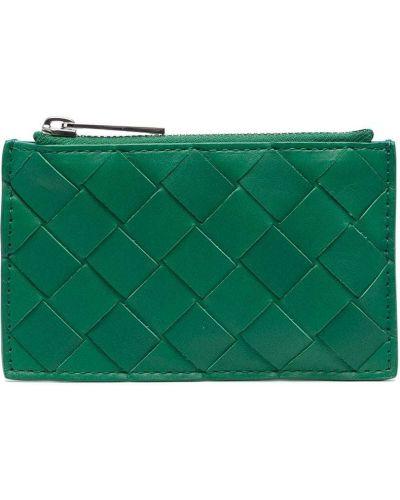 Zielony z paskiem skórzany etui na klucze Bottega Veneta