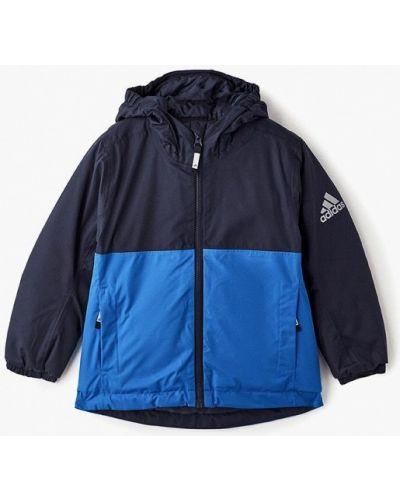 Синяя куртка теплая Adidas