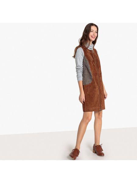 Платье мини прямое кожаное La Redoute Collections