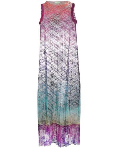 Фиолетовое платье без рукавов с оборками Aries