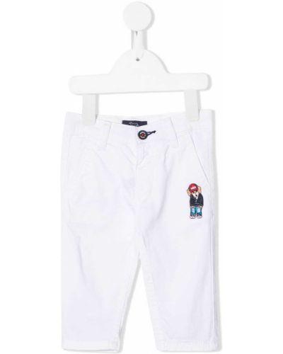 Брючные белые брюки с заплатками с поясом Harmont & Blaine Junior