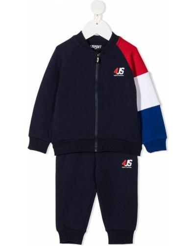 Хлопковый с рукавами синий костюмный спортивный костюм Cesare Paciotti 4us Kids