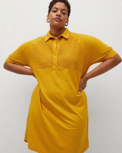 Желтое платье-рубашка Violeta By Mango