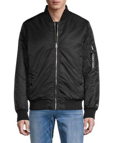 Черная бейсбольная длинная куртка на молнии Calvin Klein