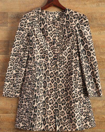 Пальто леопардовый с принтом Zaful