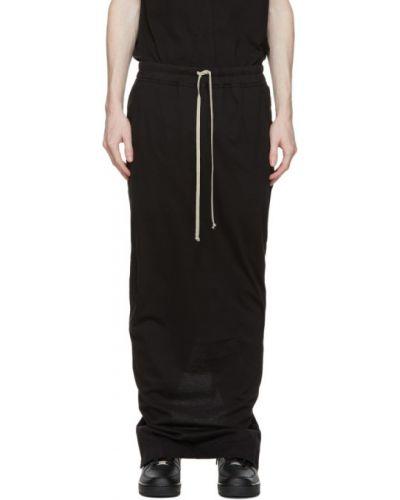 Трикотажная черная юбка макси с карманами Rick Owens Drkshdw