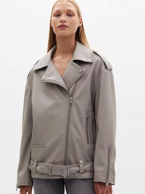 Серая демисезонная кожаная куртка Lime