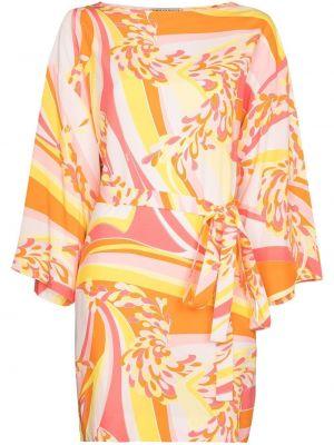 Розовое платье с вырезом из вискозы Emilio Pucci