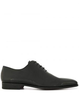 Массивные черные кожаные туфли на каблуке Magnanni