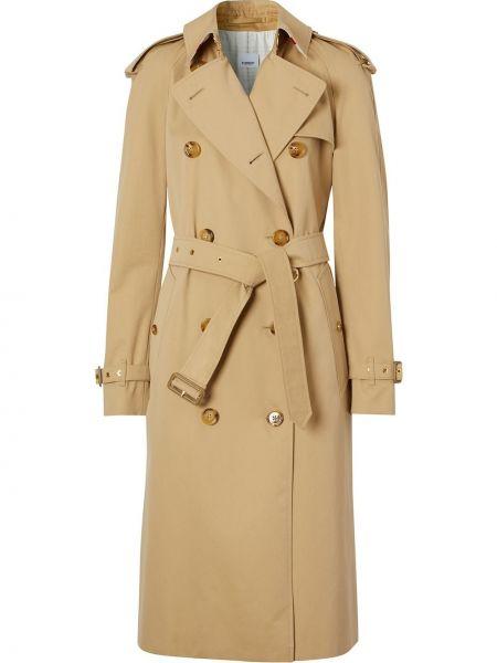 Коралловое длинное пальто с поясом на пуговицах с лацканами Burberry