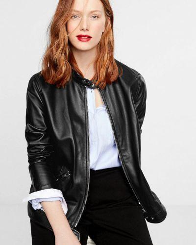 Кожаная куртка черная осенняя Violeta By Mango