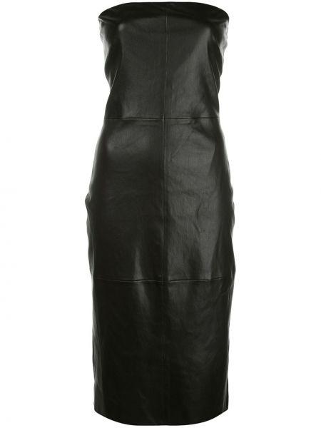 Кожаное облегающее платье без рукавов со шлицей на молнии Rosetta Getty