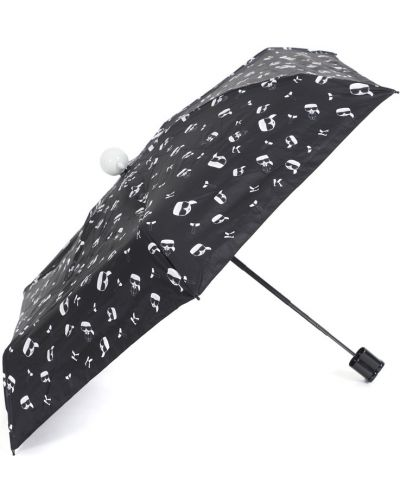 Черный складной зонт с рисунком металлический Karl Lagerfeld