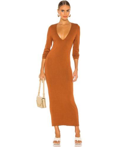 Światło brązowy włókienniczy długo sukienka na pięcie L'academie