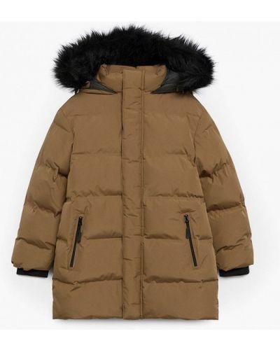 Утепленная коричневая куртка Mango Kids