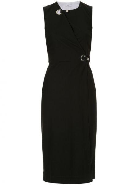Платье миди с запахом черное Rosetta Getty