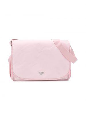 Хлопковая розовая сумка с карманами Emporio Armani Kids