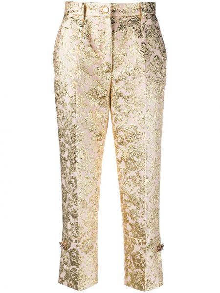 Желтые с завышенной талией укороченные брюки на молнии Dolce & Gabbana